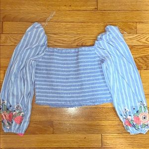 NWT- Striped Long Sleeve Smocked Cropped Top